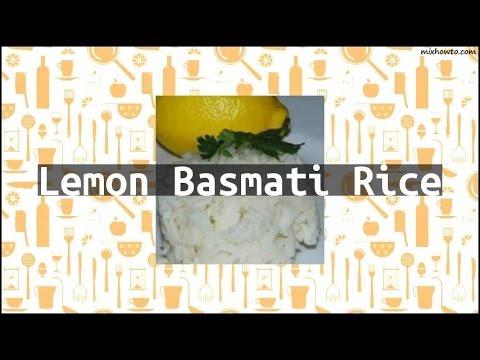 Recipe Lemon Basmati Rice