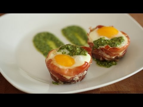 Whitney's Baked Egg Cups in Prosciutto || KIN EATS