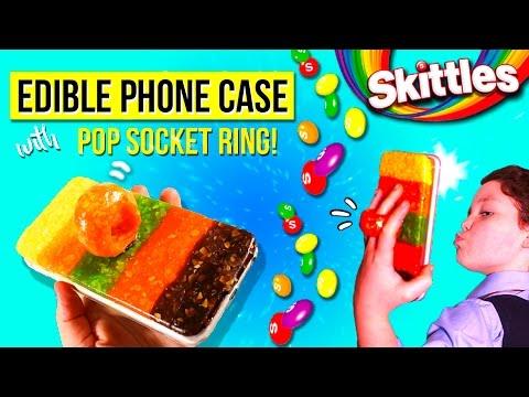 DIY Edible SKITTLES PHONE CASE  😛  POP SOCKET Ring PHONE CASE & Stand Smarphone