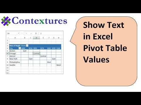 Show Text in Excel Pivot Table Values Area