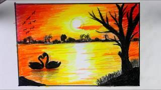 رسم منظر طبيعي لغروب الشمس سهل جدا للمبتدئين والاطفال بالالوان