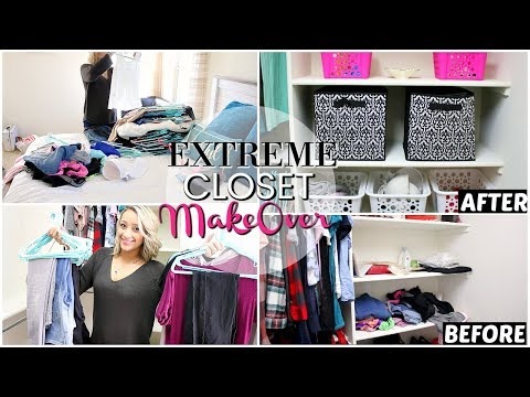 EXTREME CLOSET CLEANING | DECLUTTER & ORGANIZE WITH ME 2018 | GIVEAWAY