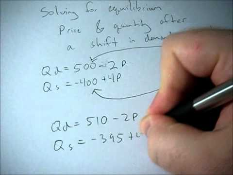 How to solve for equilbirium price and quantity after a shift
