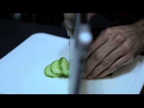 Cutting cucumber with a Macbook Air