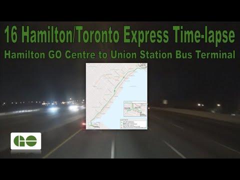 GO Transit - 16 Hamilton/Toronto Express Time-lapse (Hamilton GO Ctr to Union Stn Bus Terminal)