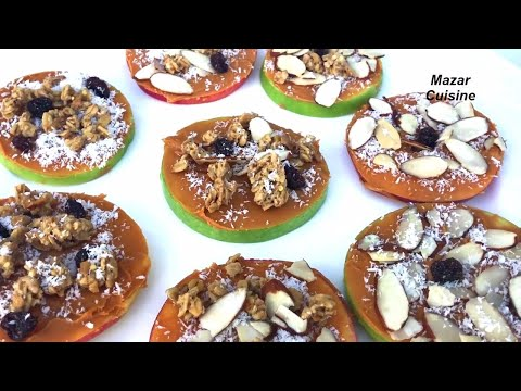 Healthy And Easy Snack Idea For Weight Loss Diet, شیرینی رژیمی Apple & Peanut Butter Cookie