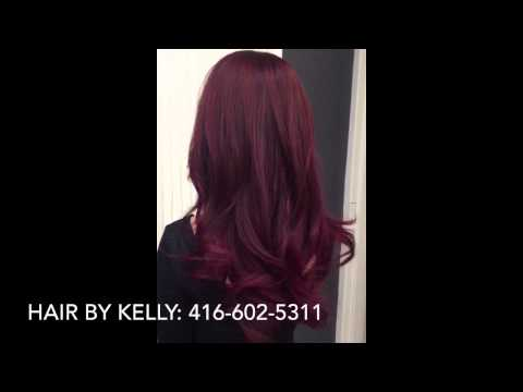 Fall red, purple, pink long layered hair colour and cut
