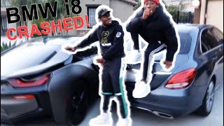 I CRASHED P2istheName Brand NEW 100,000$ Wrapped BMW i8 into my 2019 Mercedes Benz!!! Prank