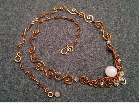 How to make necklace with pink quartz - Handmade copper wire jewelry 61