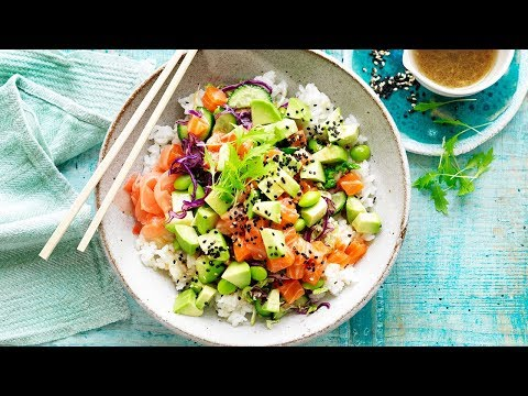 Avocado and Salmon Poke Bowl