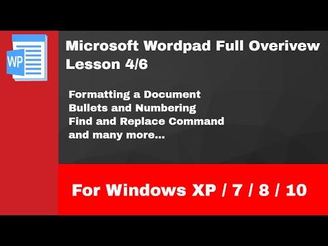 Microsoft Wordpad Full Tutorial For Windows 10 / 8 / 7 / XP | Lesson 4/6