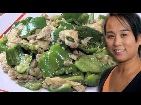 Scrambled Egg & Green Pepper Stir Fry (Chinese Vegetarian Recipe)