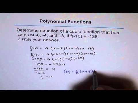 Determine Equation of Cubic Function