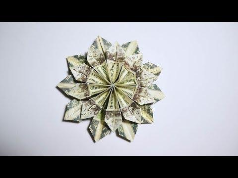 Easy and Fast Money Flower Origami 10 Dollar bills Tutorial DIY Folded No glue