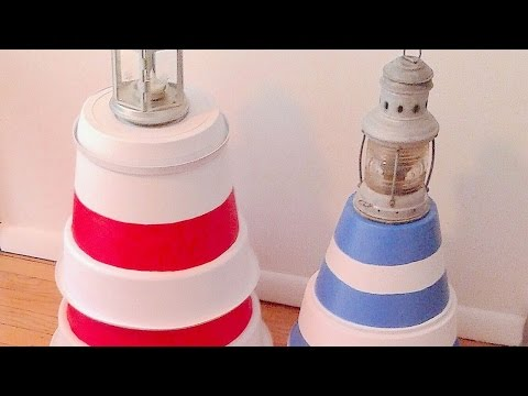 How To Make A Lighthouse With Recycled Flower Pots - DIY Home Tutorial - Guidecentral