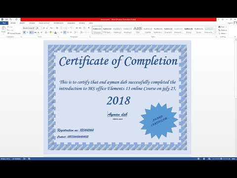 HOW TO MAKE CERTIFICATE ON MS WORD HINDI
