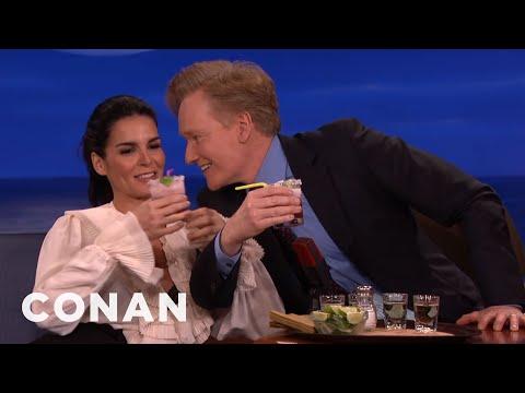 Angie Harmon Does Tequila Shots With Jeff Goldblum & Conan
