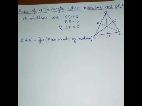 Shortcut to find Area of a Triangle in 10-20 seconds when only medians are given (Part -2)