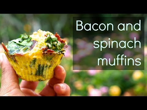 Bacon and spinach muffins (Paleo/HFLC)