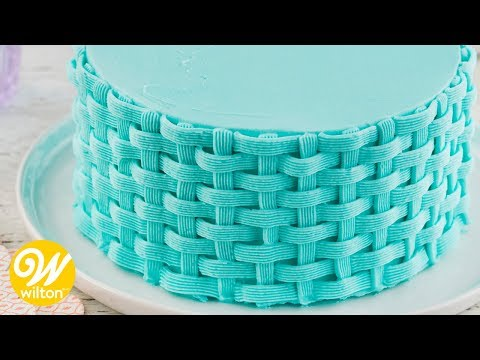 How to Pipe a Buttercream Basketweave Cake Design | Wilton