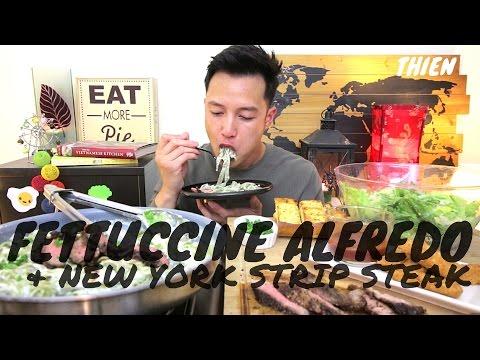 [mukbang/cookbang with THIEN]: Fettuccine Alfredo with New York Steak and Mozzarella Sticks
