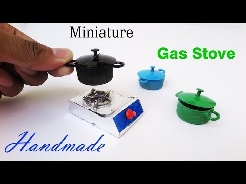 DIY Miniature Realistic Gas Stove and Cooking Pots | Dollhouse | Handmade