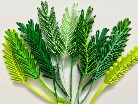 Quilling sprigs of leaves with hair brush
