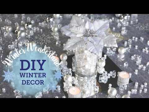 DIY Winter Wonderland: Mirror with Candles Centerpiece | BalsaCircle.com