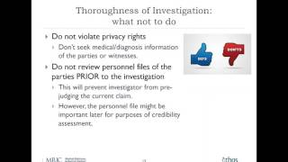 Webinar: The DOs and DON'Ts of Conducting Workplace Investigations 1