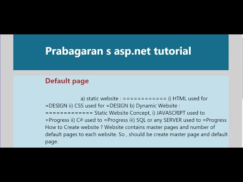 How to create WEBSITE with MASTER Page in ASP.NET