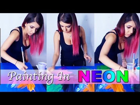 Fluid Acrylic Pouring Neon Painting 2