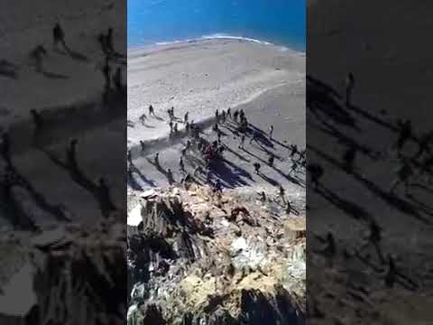 Stone pelting between Indian Army and Chinese border guards at Ladakh region