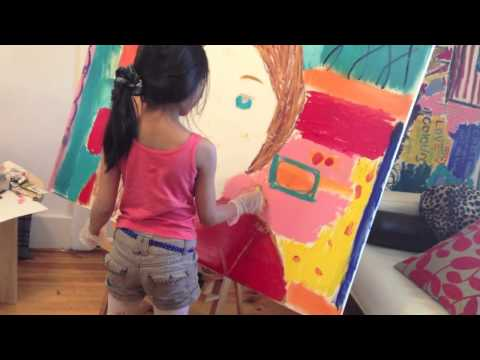 7 year old pop art painting - American Girl doll - Saige