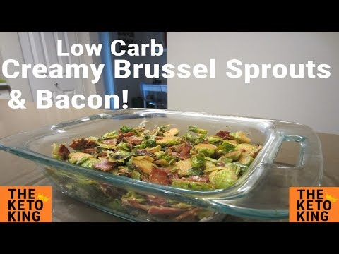 Low Carb Creamy Brussel Sprouts & Bacon| EASY side | Keto | Only 3 ingredients! | Thanksgiving!