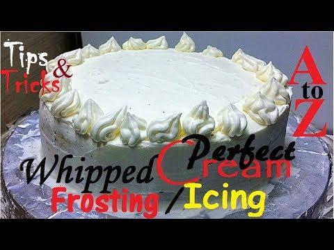 How to make Perfect Whipped Cream Frosting / Icing വിപ്പ്ഡ് ക്രീം കേക്ക് ഐസിങ് എങ്ങനെ ചെയ്യാം