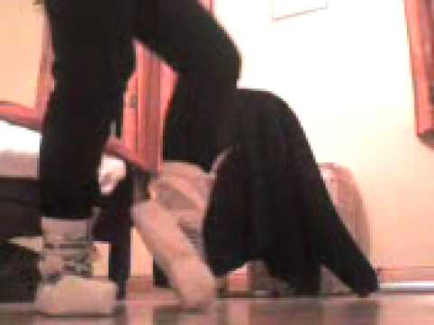 me dancing in duct tape pointe shoes