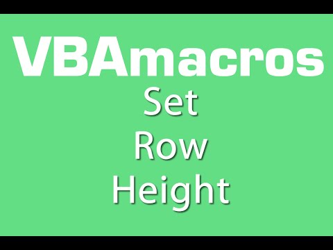 Set Row Height - VBA Macros - Tutorial - MS Excel 2007, 2010, 2013