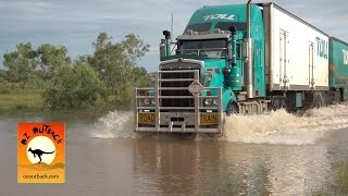 Extreme Trucker #1 - Massive Road trains trucks crossing flooded river in the Australian outback