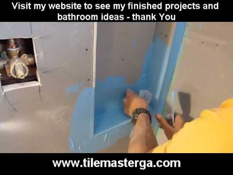 PART 2. How to install built-in shower niche, nook, recessed shelf -- waterproofing with membrane
