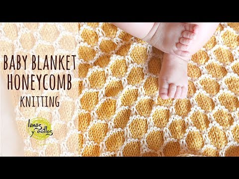Tutorial Easy Knitting Baby Blanket | Two Colors Honeycomb Stitch | Lanas y Ovillos English Channel