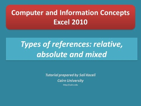 Excel 2010 Tutorial: Types of References: Absolute, Relative, and Mixed References