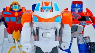 TRANSFORMERS RESCUE BOTS BLADES COPTER CRANE WITH HIGH TIDE OPTIMUS PRIME TOYS