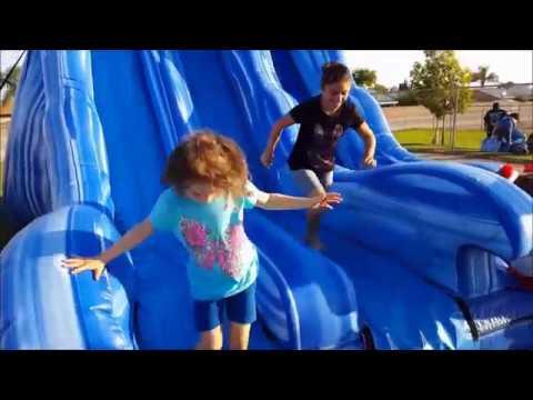 Fun in a BLUE Wave Jumper. Wave slider for kids