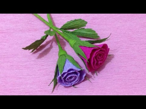 How to Make Small Rose Crepe Paper flowers - Flower Making of Crepe Paper - Paper Flower Tutorial