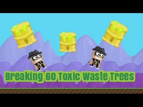GrowTopia - Breaking 60 Toxic Waste Barrel Trees!