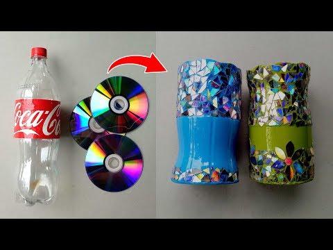 DIY Makeup | Room Bling Organiser | Recycle Plastic Bottles & DVDs