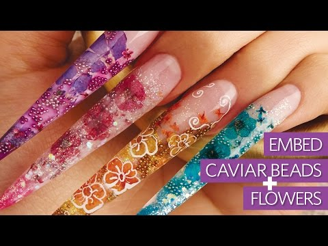 Embed Real Flowers & Caviar Beads Into Acrylic Stiletto Nails