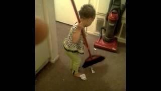 sweeping todler