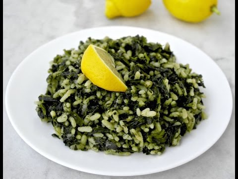 Spinach-rice (spinach risotto) Greek and vegan