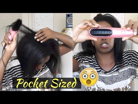 Tested A MINI Hair Straightening Brush On Transitioning Hair | Review & Demo